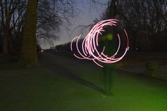 Light painting. Some wane is painting with light stock photo