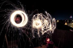 Light painting with sparklers - circles and shapes stock photos