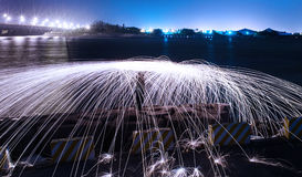 Light painting steel wool Royalty Free Stock Photo