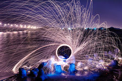 Light painting steel wool Royalty Free Stock Images