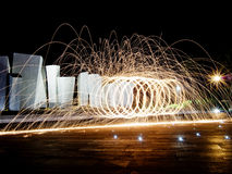 Light painting with steel wool, photography technique Stock Image