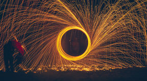 Light Painting with Steel Wool and umbrella Royalty Free Stock Images