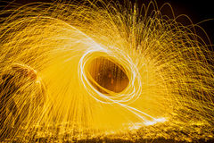 Light Painting with Steel Wool and umbrella Stock Image