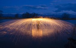 Light painting in water Royalty Free Stock Photography