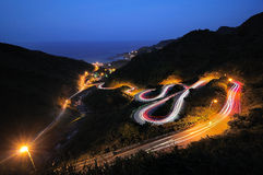 Light Painting and winding road Royalty Free Stock Images