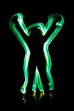 Light painting woman. Woman green light painting like aura Royalty Free Stock Photography