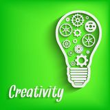 Light paper bulb with gears  illustration Royalty Free Stock Images