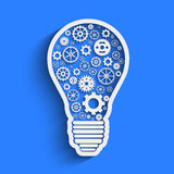 Light paper bulb with gears  illustration Royalty Free Stock Photography