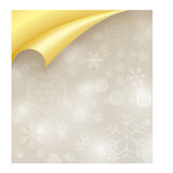 Light Paper with Snowflake Texture and Curled Gold Royalty Free Stock Images