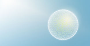 Light Sphere. Sphere with Light Particles on Blue Stock Photo
