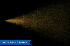 Light particles dispersion of gold glitter spray on vector black background. Light particles dispersion of gold glitter spray on black background. Vector golden Royalty Free Stock Image