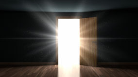 Light and particles in a room through the opening door Royalty Free Stock Photos