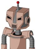 Light-Peach Mech With Mechanical Head And Speakers Mouth And Angry Eyes And Single Led Antenna. Portrait style Light-Peach Mech With Mechanical Head And Speakers stock illustration