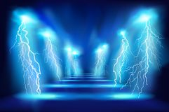 Light performance. Electric discharge on the stage. Vector illustration. Royalty Free Stock Images