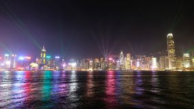 Light Performance, Victoria Harbour, Hong Kong royalty free stock photography