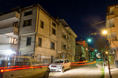 Light picture on a night street in the Bulgarian Pomorie stock images