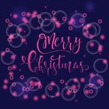 Light pink abstract Christmas background with white sparkling sn. Owflakes. Winter holiday illustration with lettering. Template for decoration, greeting cards Stock Photography