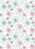 Light pink and aqua floral pattern. Vector illustration of a floral repeat pattern Royalty Free Stock Image
