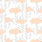 Light pink baby snowy clouds seamless vector pattern. Stock Photos