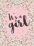 It`s a Girl. Cute Baby Shower Vector Illustration. Tiny Confetti on a Pink Background. Dark Grey Letters. Light Pink Background. Small Round Shape Confetti stock illustration