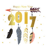 Light pink blue gold happy new year with star,arrow and feather. In boho style Royalty Free Stock Image
