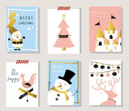 Light pink blue love christams greeting card with hen and Santa Royalty Free Stock Photography