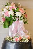 Light pink  bouquet with pink and white rose. With natural light Royalty Free Stock Images
