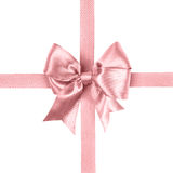 Light pink bow made from silk ribbon Royalty Free Stock Images