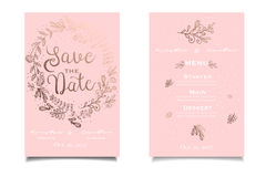 Light pink elegant invitation card in retro style. Vintage greeting Stock Photos