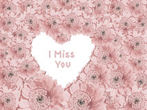 Light pink gerber daisies with heart shaped copy space and text. I miss you royalty free illustration