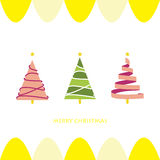 Light pink green christmas tree card Stock Images