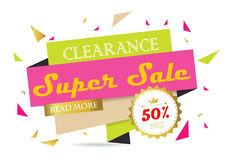 Light pink green gold red paper banner. With star Stock Photography