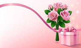 Light pink greeting background with gift box and bouquet of pink roses with ribbon. Copy space for text. Stock Photos