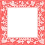 Light Pink Hearts Square Frame. A background illustration featuring a square frame of light pink hearts stock illustration