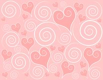 Light Pink Hearts Swirls Background Royalty Free Stock Photos