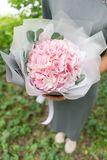 Light pink hydrangea. Young girl holding a flower arrangement. Beautiful summer bouquet. The concept of a flower shop Royalty Free Stock Photography