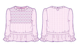 Light pink knitted blouse with extensive decoration. Front and back view of pink knitted blouse with extensive decoration vector illustration