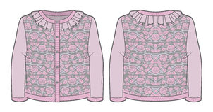Light pink knitted jacquard cardigan. With roses and ruffles at neckline royalty free illustration