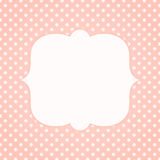 Light pink polka dots invitation card. Square invitation card or tag with polka dots and a frame for text or image Stock Photos