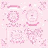 Light pink vector wedding invitation design element set Royalty Free Stock Images