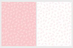 Cute Delicate Twigs Repeatable Vector Patterns. Pink and White Twigs and Leaves. royalty free illustration