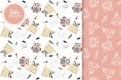 Light pink,white seamless pattern with whale,feather,owl Stock Photography