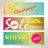 Light pink yellow blue gold red paper banner Stock Photo