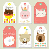 Light pink yellow tag sale on summer with bear,sheep,cat and rabbit Stock Photos