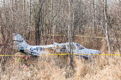 Light plane crash near highway Royalty Free Stock Images