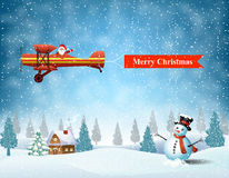 Light plane with Santa claus Stock Image