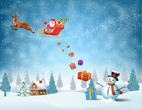 Light plane with Santa claus Stock Images