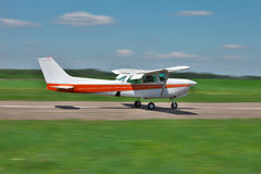 Light plane takeoff Stock Photography