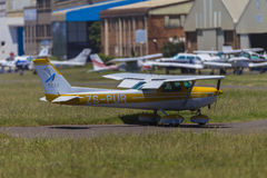 Light Plane Taxi Hangars Stock Photography