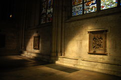 Light playing with darkness. Cathedral`s interior Royalty Free Stock Photos